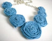 Michelle - light blue rolled rosette necklace