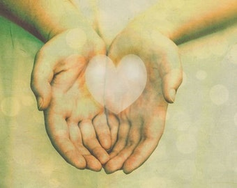 Heart In Hands - Photography - Surreal Love Symbolic Ethereal - Valentines Day Romance - Caring - Pastel  - Guilding Lilies Lily Lilly