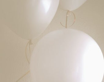 Everyone Wore White At Her Parties - Photograph Photography - Winter Celebration Balloons Birthday New Years Minimal Holiday Decor