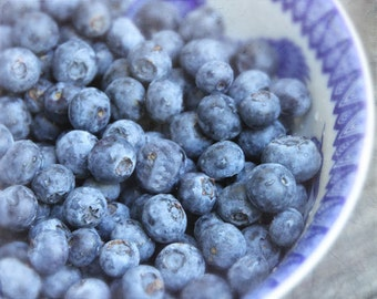 """Summer """"Blueberry Bliss"""" - Kitchen Decor - Food Photography - 8 X 10 - Blue, Breakfast, Foodie, Simplicity, Country, Americana"""