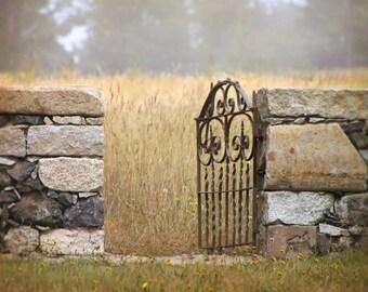 Garden Of Secrets - Photography - Stone Wall with Iron Gate - Neutral Gray Ochre Brown Charcoal - Secret Garden