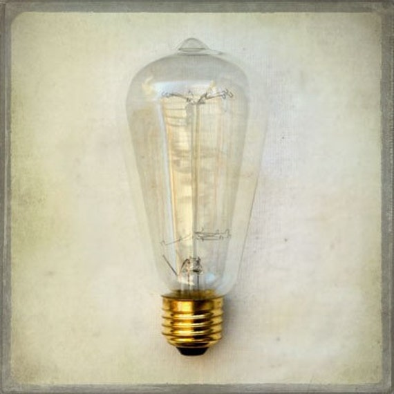 The Collection  Number XV - Photography - Light Bulb - Good Idea - Neutral, Edison, Minimalistic Home Decor, Steampunk, Gray, Brass