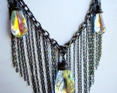 Gunmetal Fringe Bib Necklace with Swarovskis Necklace and Earring Set
