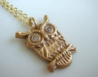 Bronze Owl Charm Necklace with Cubic Zirconias // Owl Necklace // Bronze PMC Owl Jewelry