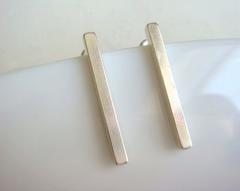 Sterling Silver Bar Studs Square Drop Stick Earrings