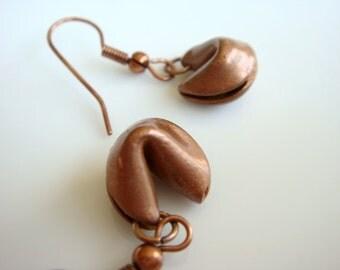 Copper Fortune Cookie Earrings