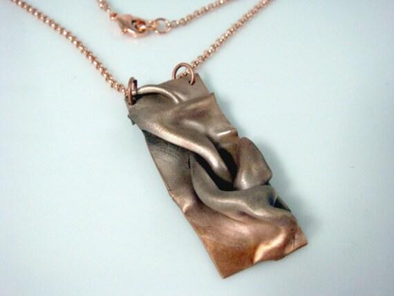 Copper and Steel Draped Ombre Pendant