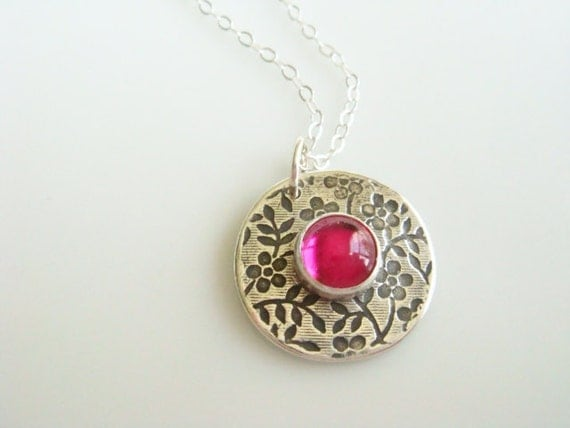 PMC Ruby Flower Necklace