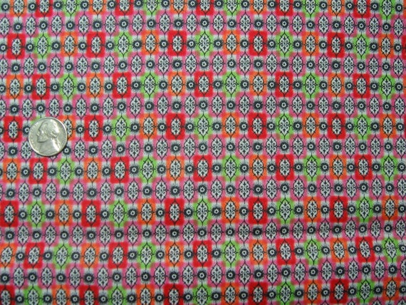 1950s Vintage Cotton Fabric - Lime, orange, pink and cherry