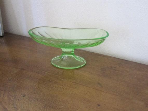 Vintage Green Depression Era Glass Banana Split Dish