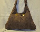 Brown Herringbone Wool Blend Purse