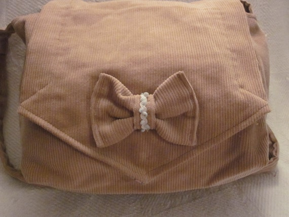 Tan Corduroy Purse with bow and trim detail- CLEARANCE