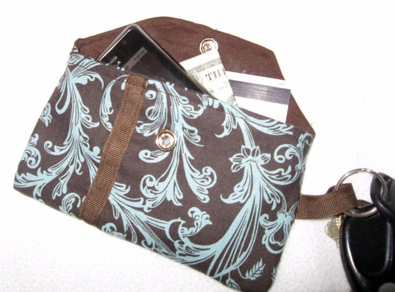 Key Chain Wallet, business card, money, and cell phone holder, with pocket - MANY FABRIC CHOICES