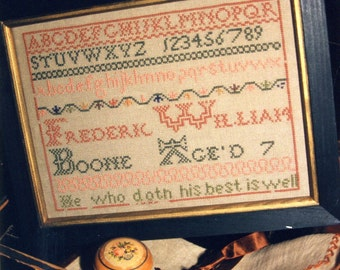Frederic William Boone Reproduction Sampler~This was stitched by a little boy!