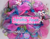 Mesh wreath for summer in pink, turquoise and zebra print deco geo mesh