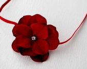 Red Velvet Flower Christmas Headband - Newborn Infant Baby Toddler Girls Photo Prop