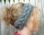 Ear Warmer / Headband Gray Braided Cable - PRICE REDUCED