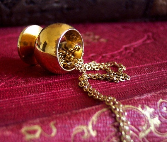 Golden Goblet - Vintage Solid Steel and Goldtone Miniature Fairy Cup Charm Pendant Necklace