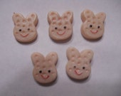 kawaii pink bunny cookie cabochons  5 pcs