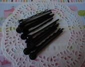 Black bobby pins with pad   10 pcs---USA seller