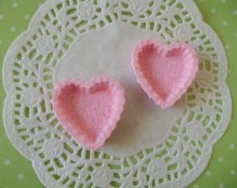 Kawaii pink heart tart shell deco diy   2 pcs--USA seller