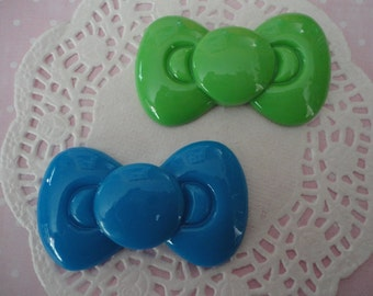 Sale--kawaii BIG blue and green bow cabochons decoden deco diy charm   2 pcs---USA seller