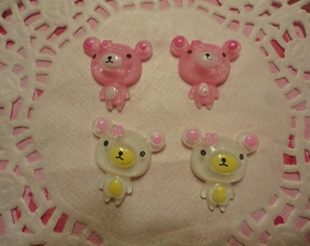 So kawaii mini bear cabochons   4 pcs--USA seller