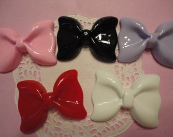Sale sale---BIG cute bow cabochons  decoden deco diy charms   52x41 mm      5 pcs     USA seller