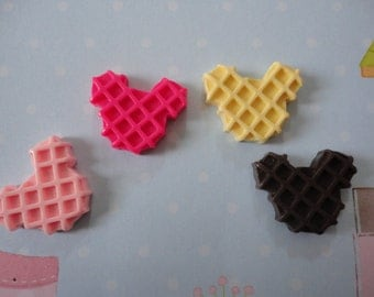 Kawaii fun mini mouse waffle cabochons  4 pcs---USA seller