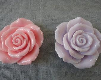 Big fancy pastel color rose cabochons  2 pcs--USA seller