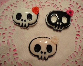 Kawaii cute skull with flower decoden deco diy cabochon charms    3 pcs---USA seller