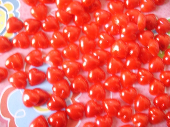 Red heart faux pearl flatbacks  11 mm   50 pcs