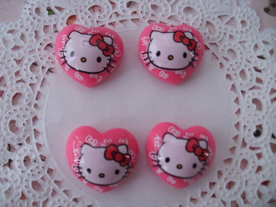 Kawaii kittys face in a pink heart flatbacks     4 pcs