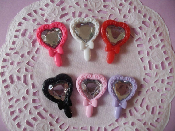 Fancy princess mirror with rhinestone deco decoden diy charm cabochons  6 pcs---USA seller
