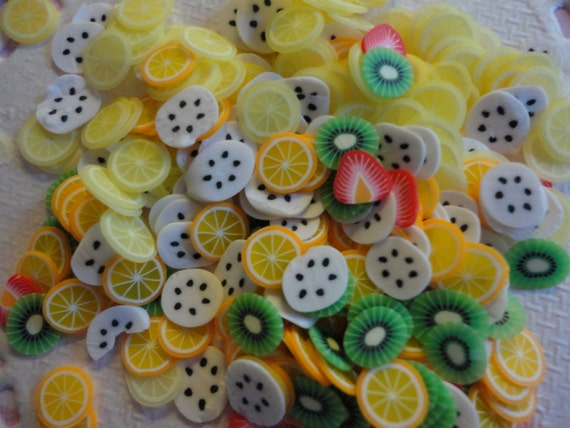 Clay cane fruits slices random mix deco decoden diy     more than 100 pcs--USA seller