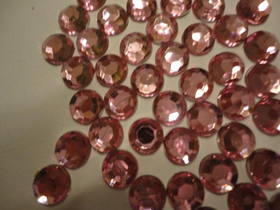 Light pink acrylic rhinestone decoden deco diy 8mm  more than 50 pcs---USA seller
