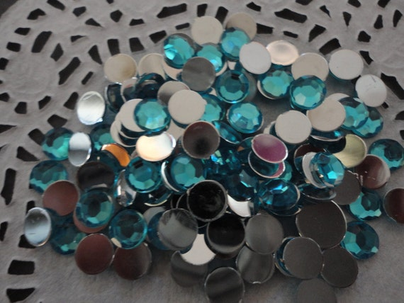 Ocean blue acrylic rhinestone  6mm  more than 50 pcs---USA seller