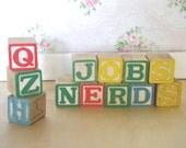 SALE 12 Vintage Children's Alphabet Wood Blocks Was 8 Dollars
