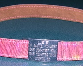 Leather Custom Tag Collar for Greyhounds - Pink Lizard