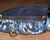 Martingale Collar 1.5 Inch Wide for Greyhounds/Sighthounds - Blue & Gold Swirls