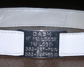 Leather Custom Tag Collar for Greyhounds - Bright White