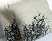 Black Trees Linen silk screened pillow