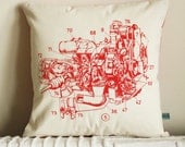 Red Engine silk screened pillow