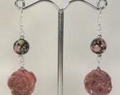 Pink and black rhodonite flower sterling silver earrings