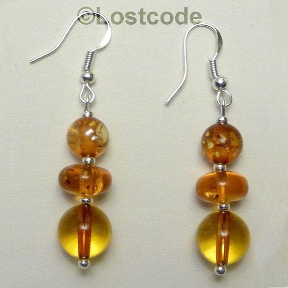 Genuine natural amber sterling silver earrings