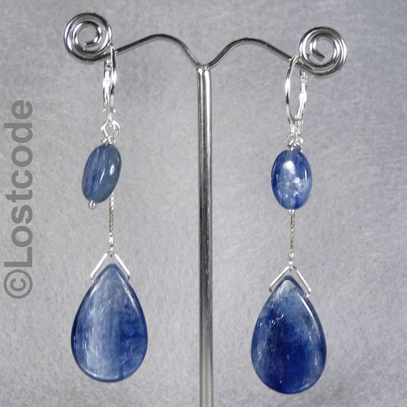 Silvery blue kyanite tear drops sterling silver earrings