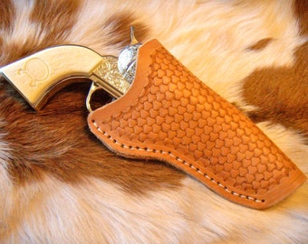 Kids Leather Holster with Toy Gun- Tri-Basket Weave