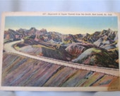 1930's Approach to Upper Tunnel Bad Lands, SD Linen Postcard