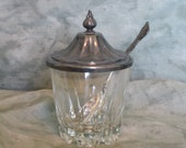 Vintage International Deep Silver Glass Sugar Jar With Spoon