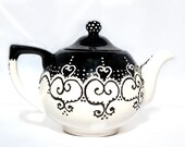 Teapot black and white hand painted with lace dotting